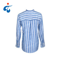 TY190327-13 Latest design oem spring casual full sleeve poplin women stripe cotton shirt blouse