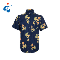 TY190522-12 Applicable to holidays new short sleeve printed men sea island cotton hawaiian shirt