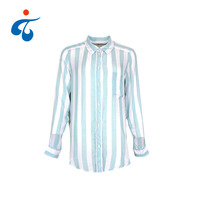 TY190327-14 Best selling custom popular 100% cotton long sleeve stripe shirt design for women